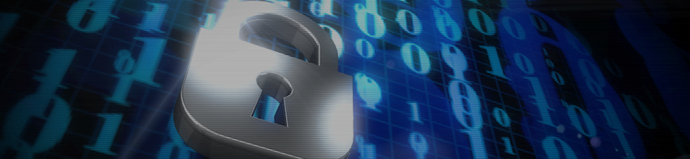 Chrome Padlock in Front of Binary Code