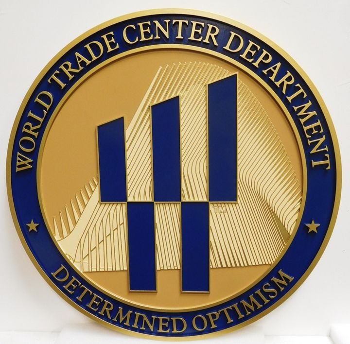 AP-5037- Carved Plaque of the Seal of the World Trade Center Department,  Artist Painted