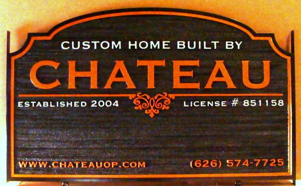 """S28070 - Carved Sandblasted Wood Grain Sign for """"Chateau""""  Custom Home Builders,"""