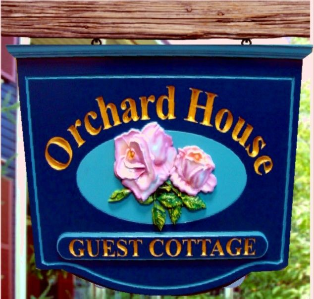 I18206 - Carved HDU Hanging  Residence Sign with Pink Rose