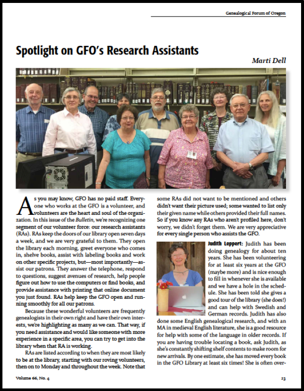 GFO's Research Assistants