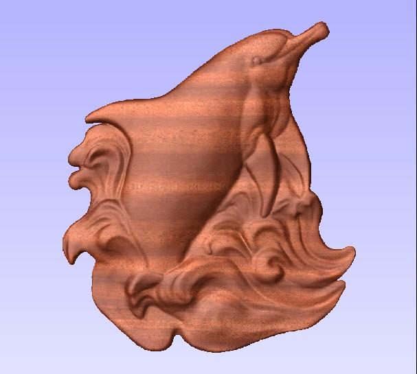 M3972 - Carved Mahogany Porpoise Applique