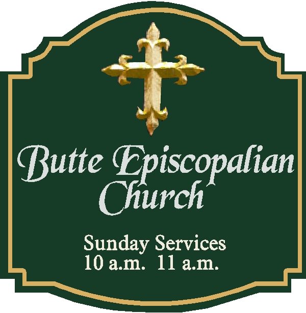 D13070 - Carved HDU Sign for Episcopal Church with Hours of Services and Carved Decorative Cross