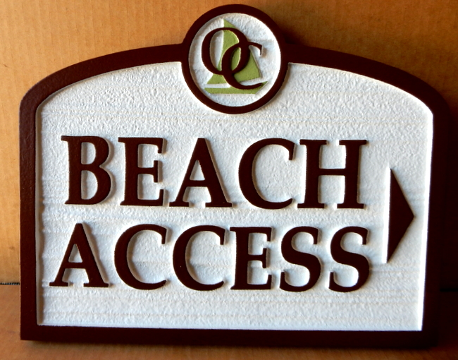 L22175 - Attractive Sandblasted HDU Sign for Beach Access, with Carved Sailboat as Logo Art