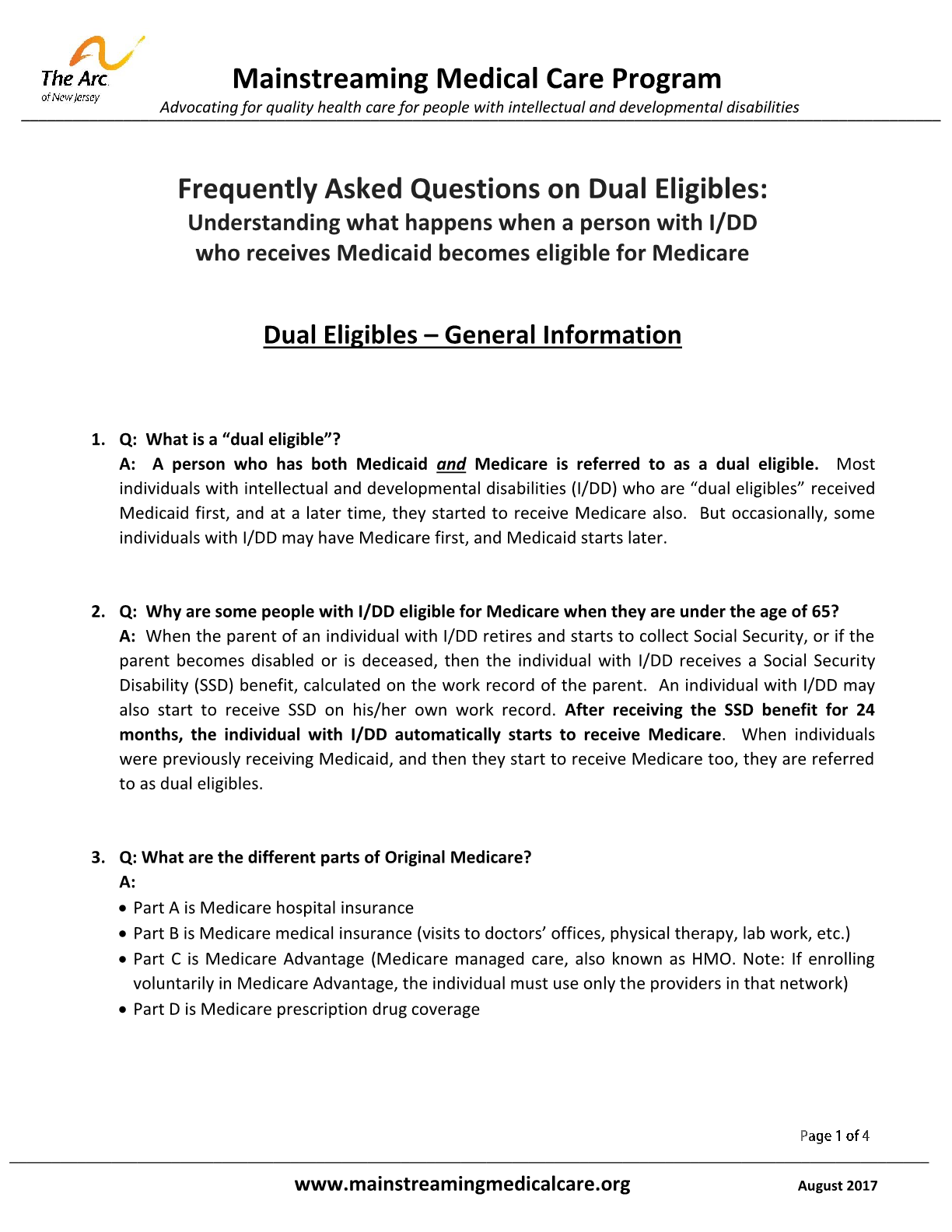 FAQ on Dual Eligibles: Understanding what happens when a person with I/DD who receives Medicaid becomes eligible for Medicare - General Information
