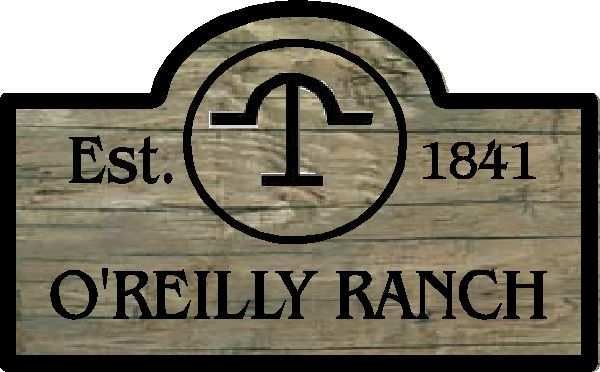 O24930 - Rustic, Painted Wood Sign for O'Reilly' Ranch with Logo
