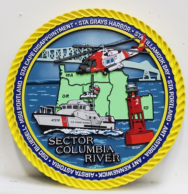 V31928 -  Carved 2.5-D HDU Plaquefor the US Coast Guard Sector Columbia River, with a Cutter, Helicopter and Map of the Region as Artwork