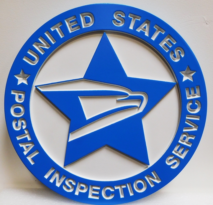 AP-6683 - Carved Wall Plaque made for the US Postal Inspection Service, 2.5-D Engraved Relief