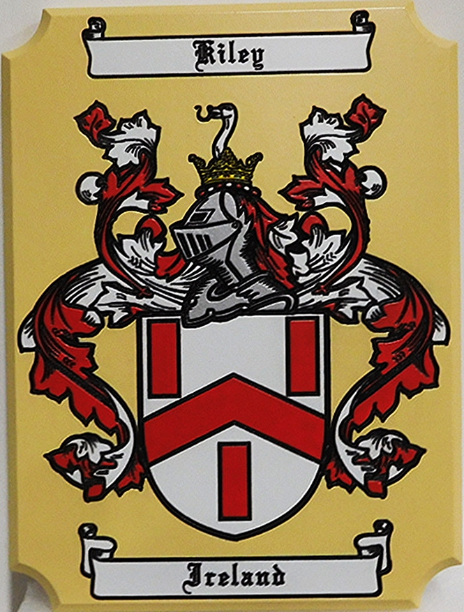 XP-3039 - Carved Plaque of Coat-of Arms for the Riley Family, with Helmet and Shield, 2.5-D Engraved, Artist-Painted