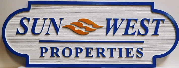 C12450 - Carved and Sandblasted Wood Grain HDU Sign for Sun West Properties, 2.5-D Artist-Painted