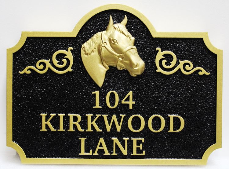 P25242 - Carved High-Density-Urethane (HDU) Address Sign for a Horse  Farmwith a 3D Carved Horse's Head with Bridle as Artwork