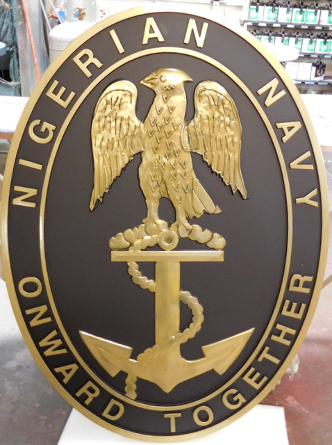 """OP-1120 - Carved Seal Plaque, Nigerian Navy, """"Onward Together"""",  24K Gold Leaf Gilded"""