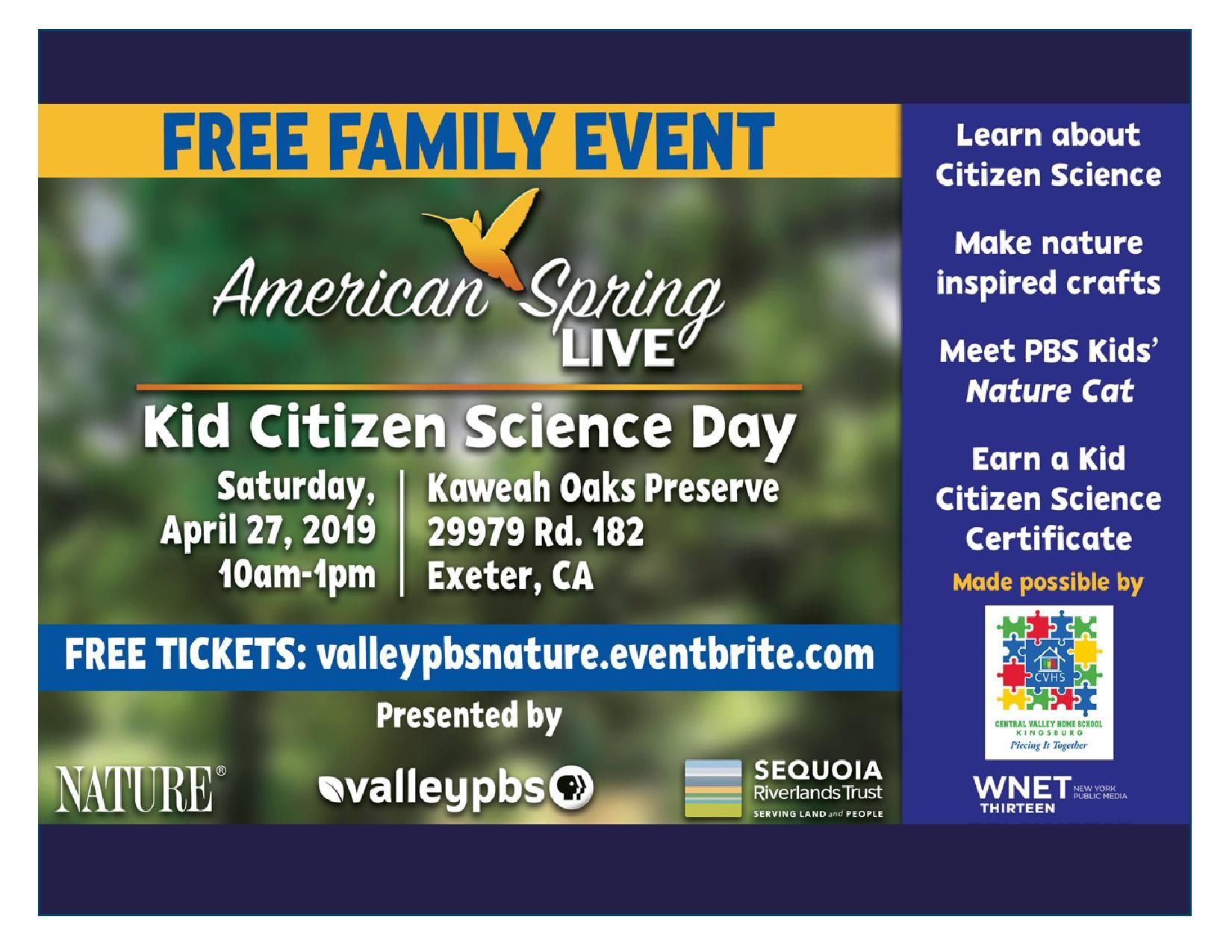 PBS comes to Kaweah Oaks for Kids' Citizen Science fun!