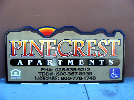 M22204 - Wood Apartment Sign with Mountains and Sunset