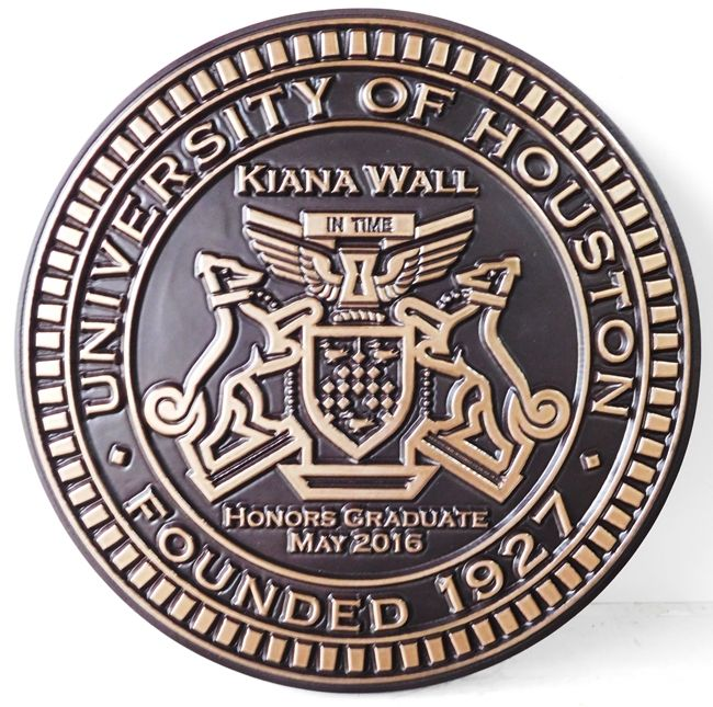 Y34320 - Bronze 2.5-D  Round Wall Plaque of the Seal of the University of Houston.