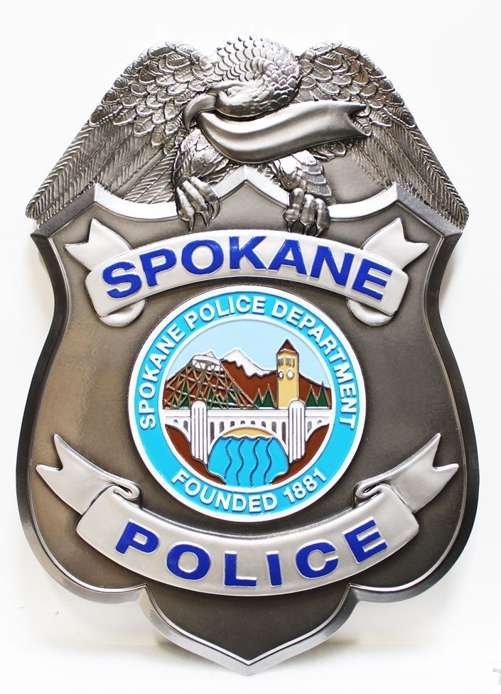 PP-1529 - Carved 3-D HDU Wall Plaque of the  Badge of Police Department, Spokane, Washington