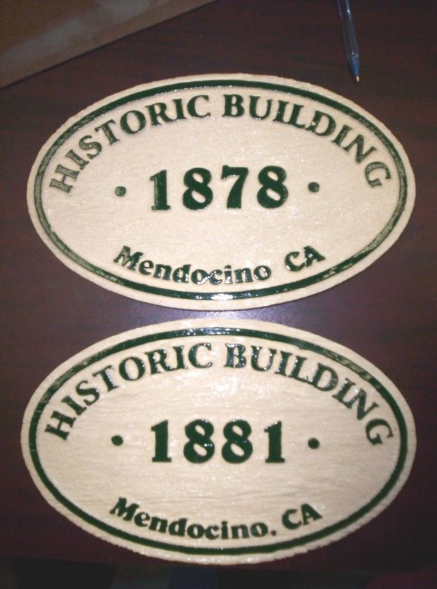 F15970 - Carved, Painted Wood Signs for Historic Buildings in Mendocino, CA