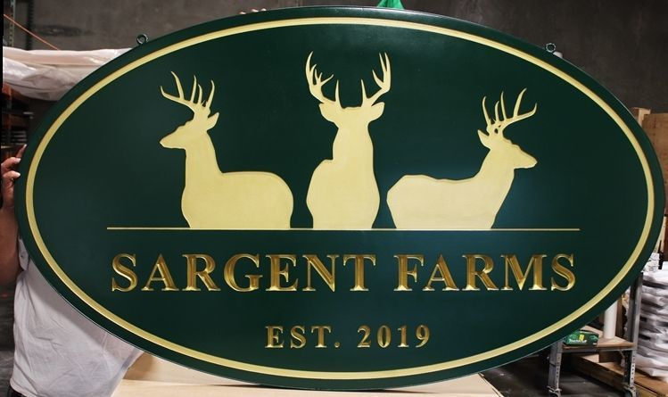 O24563 - Carved and Engraved/recessed HDU Sign for Sargent Farms, with Text which is Gilded with 24K GoldLeaf and Three Deer as Artwork