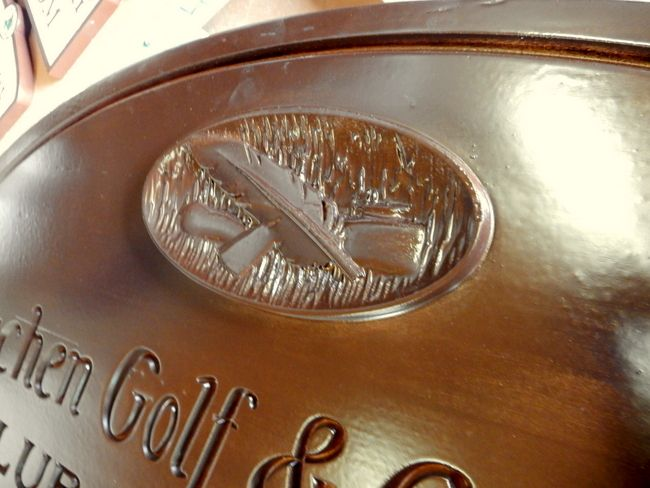 E14717 - Close-up of Carved Mahogany Logo for Metuchen Golf Club Plaque (See photo of entire Metuchen plaque in Gallery 14.)