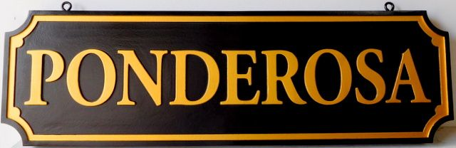 O24022 - Carved 2.5-D HDU Hanging Sign for the Ponderosa Ranch