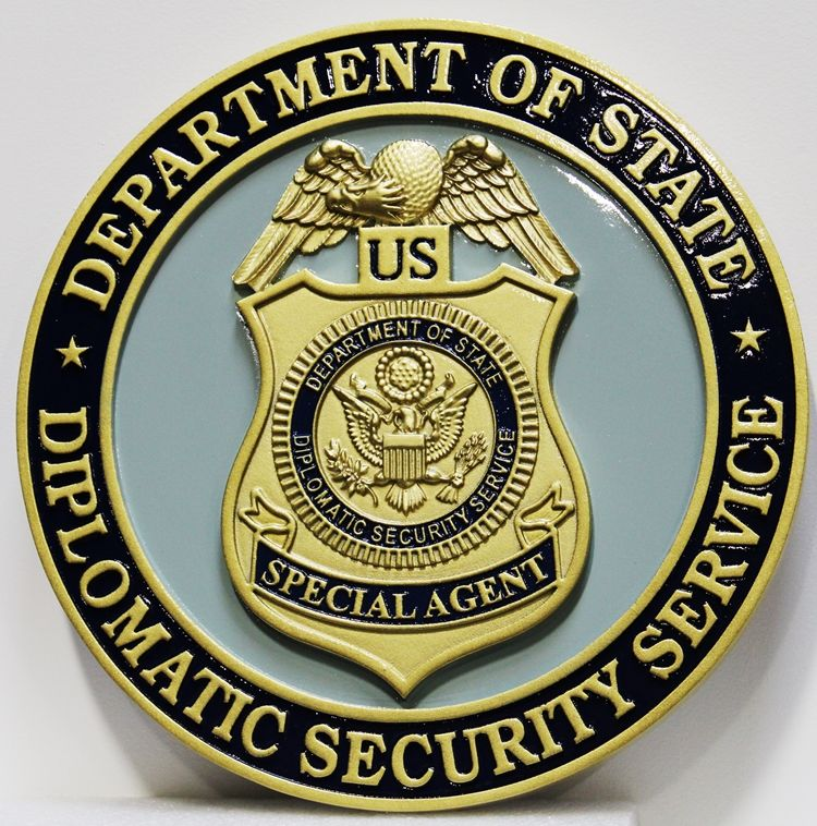 AP-3845 - Carved Plaque of theBadge of the Diplomatic Security Service, Department of State