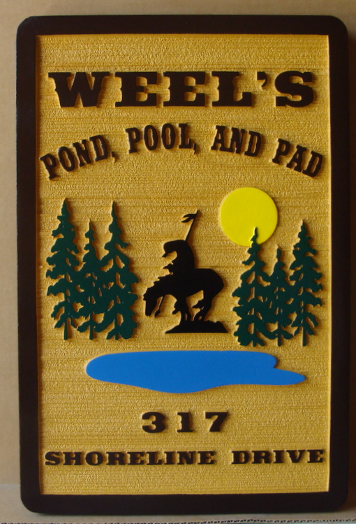 M22426 - Sandblasted Wood Grain  Sign for Cabin, with Pond, Trees and Mounted Native American as Artwork