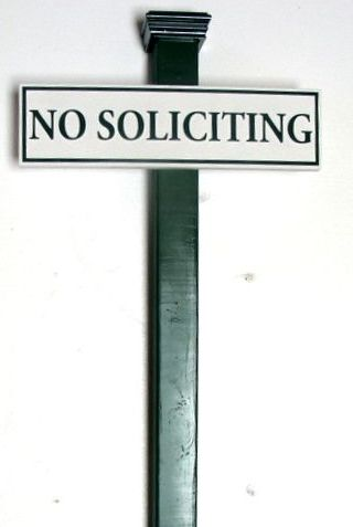 KA20748 - No Soliciting Wood Sign with Wrought Iron Post