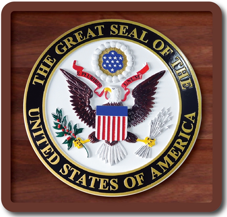 EA-2005 - Great Seal of the United States Mounted on a Mahogany Plaque