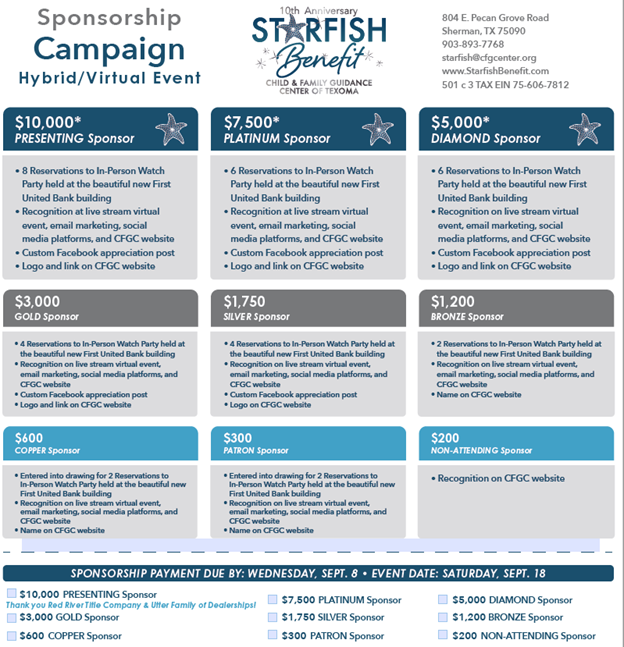 Starfish Sponsorship Levels and Details