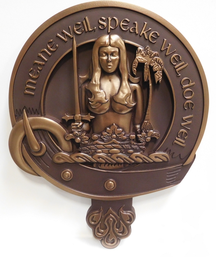 "XP-1070 - Carved Plaque of a  Crest with Woman, a Crown and a Sword and the Saying ""Mean Well, Speak Well, Do Well"", 3D Bronze Plated"