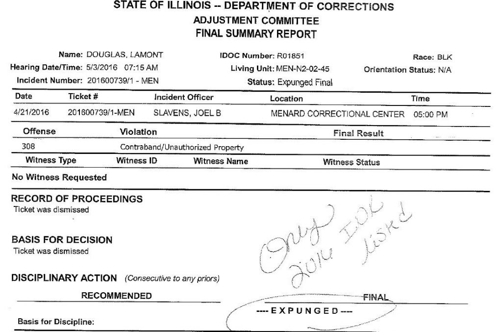 State of Illinois - Department of Corrections Final Summary Report