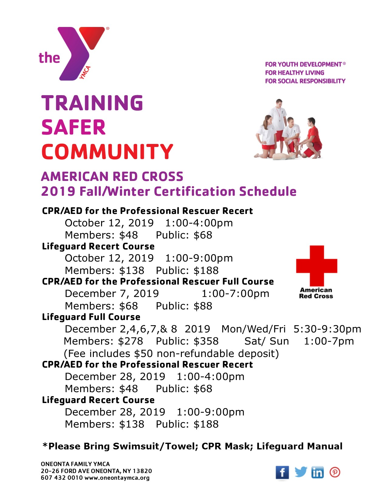 Red Cross Fall/Winter Course Schedule