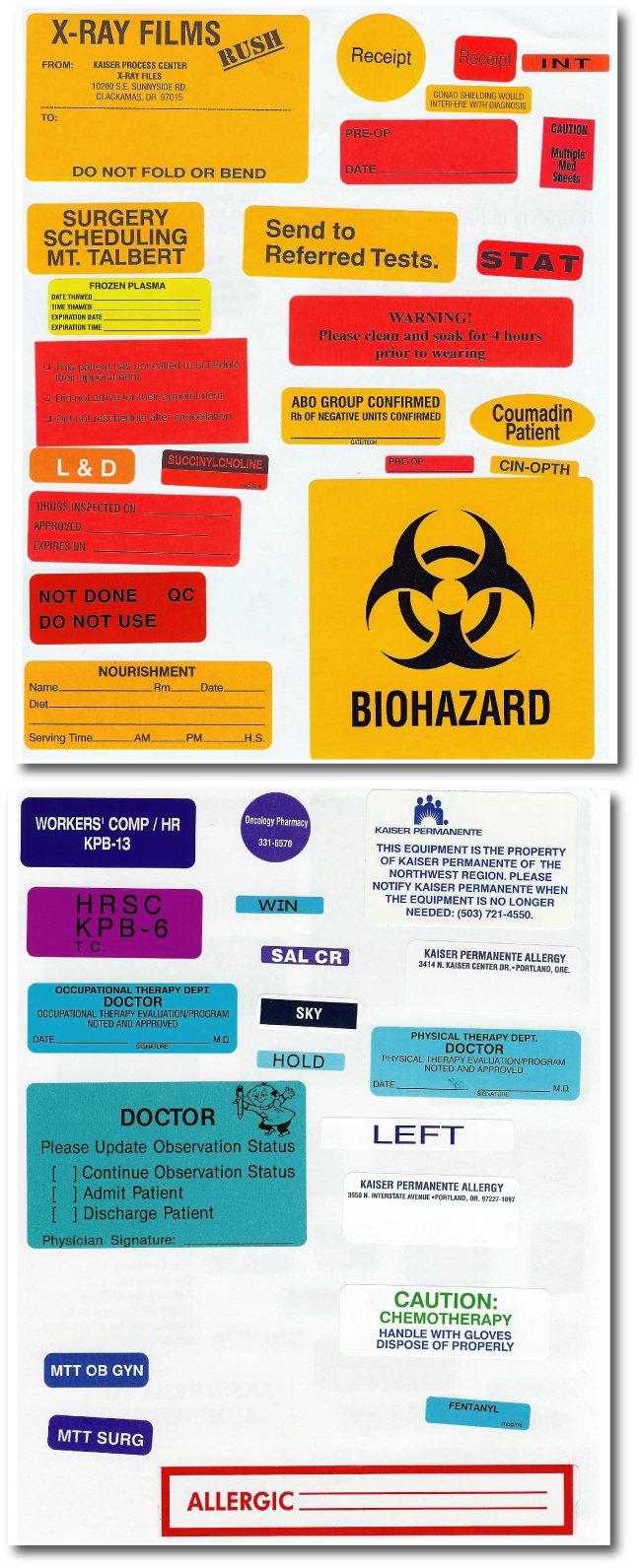 Hospital Labels