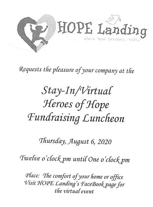 "Virtual ""Stay at Home"" Heroes of HOPE Luncheon"