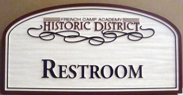"GA16631 - Decorative, Wood Look, Carved HDU Sign for ""RESTROOM"" for the French Camp Academy Historical District"