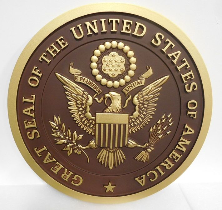 AP-1064 - Carved Plaque of the Great Seal of the United States, Metallic Brass Painted