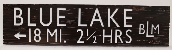 G16135 -  Engraved  and sandblasted Cedar wood sign for a Bureau of Land Management Trail