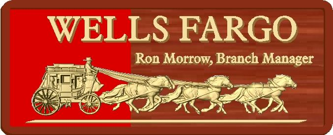 M3774 - Mahoganyt Sign for sign for Wells Fargo Bank, with 3D Caved Stagecoach and Horses as Artwork (Gallery 12)
