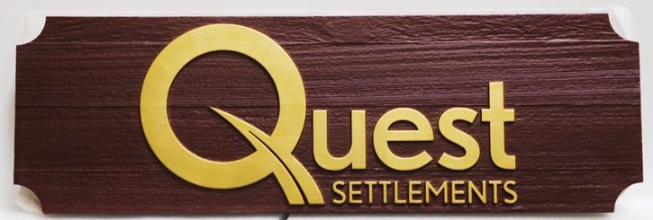 A10493 -  Carved and Sandblasted 2.5-D Western Red Cedar Wood  Entrance Sign for the Quest Settlements Law Office
