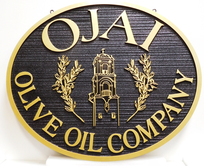 Q25618 - Carved and Sandblasted Wood Grain Sign for the Olive Oil Company, 2.5-D Raised Outline Relief, Artist-Painted with an Italian Church Tower and Olive Branches as Artwork