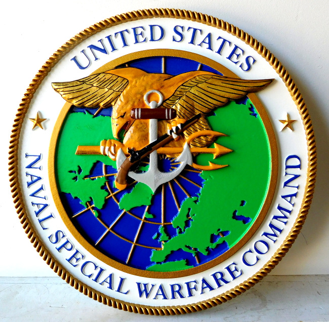 JP-1780 - Carved  Plaque of Seal of  Navy's Special Warfare Command (SEALs), Artist Painted