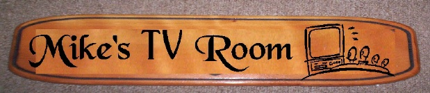 "N23601 - Engraved Cedar Wood Plaque, ""Mike's TV Room"""
