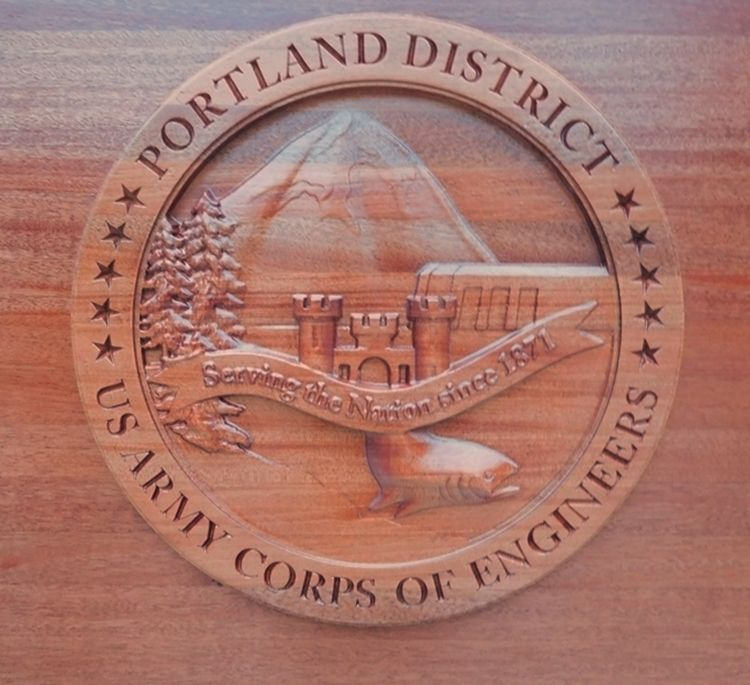 M3050 -  Carved 3-D Mahogany Wall Plaque of US Army Corps of Engineers, Portland Division Seal (Gallery 31, page 2)