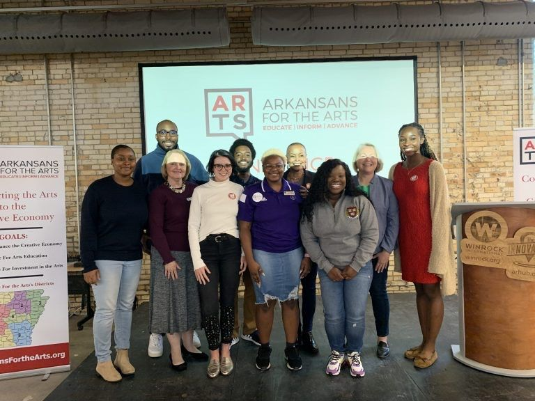 Members of Students for the Arts pose with State Legislators: Back row (L-R) Sidney McCoy, Nick Palmer, Senator Joyce Elliott, Representative Tippi MCullough, Monika Cunningham; Front row (L-R) Louise Mandumbwa, Associate Dean Gayle Seymour, Madison Conkl