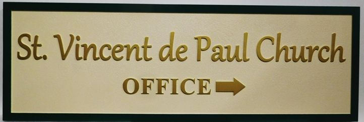 D13116 - Carved HDU Directional Sign for the St. Vincent de Paul  Church,. 2.5-D Artist-Painted