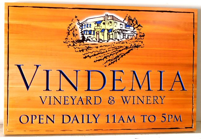 R27024 -  Engraved Western Red Cedar Sign for the Vindemia Vineyard and Winery, with House and Vineyard as Artwork