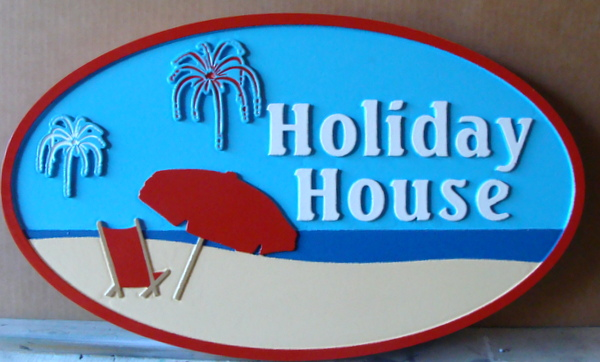 """L21022 - 2.5D Sandblasted HDU Beach House Sign """"Holiday House"""", with Umbrella and Chair"""