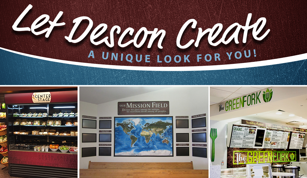 Promotion image showing 3 custom sign projects not at schools, custom signs, signage company