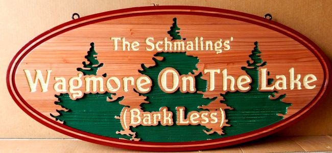 "M3060 - Carved Cedar Wood Residence Address Sign ""Wagmore on the Lake"" (Bark Less) with Engraved Evergreen Forest (Gallery 21)"