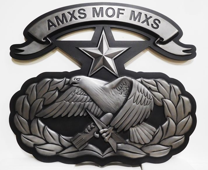 MP-2405- Carved Plaque of an Insignia / Crest for a US Army Unit AMXS MOF MXS , 3D Painted in Black and Metallic Silver